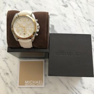 MICHAEL KORS Two-Tone White Leather Watch